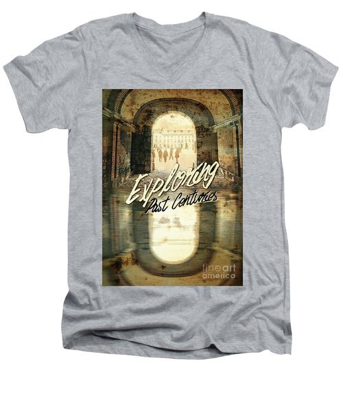 Exploring Past Centuries Fontainebleau Chateau France Architectu Men's V-Neck T-Shirt