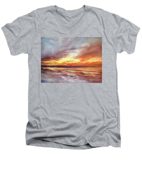 Explosion Of Light Men's V-Neck T-Shirt by Valerie Travers