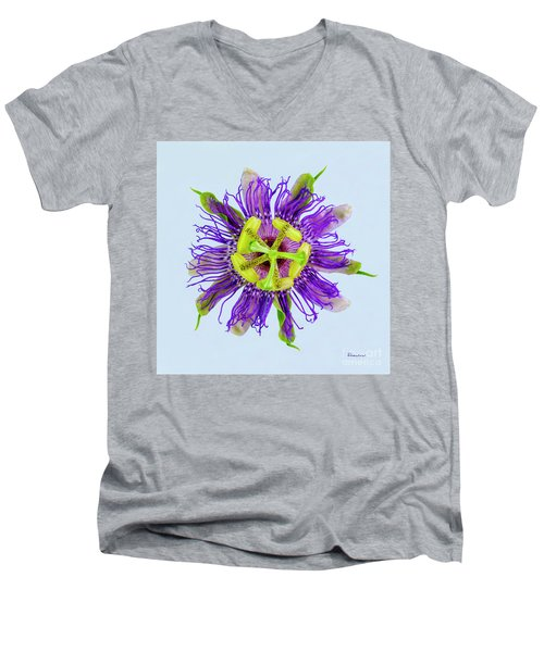 Men's V-Neck T-Shirt featuring the photograph Expressive Yellow Green And Violet Passion Flower 50674b by Ricardos Creations