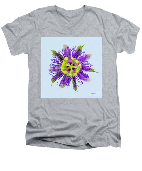 Expressive Yellow Green And Violet Passion Flower 50674b Men's V-Neck T-Shirt