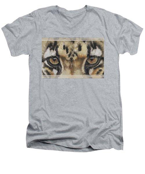 Clouded Leopard Gaze Men's V-Neck T-Shirt
