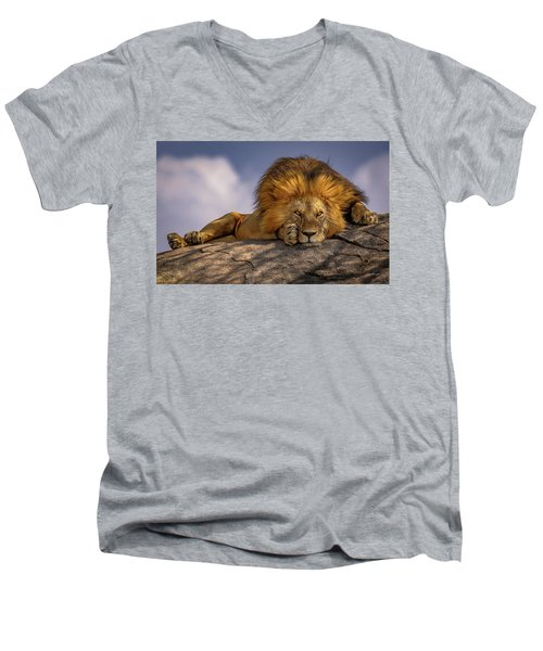 Eye Contact On The Serengeti Men's V-Neck T-Shirt