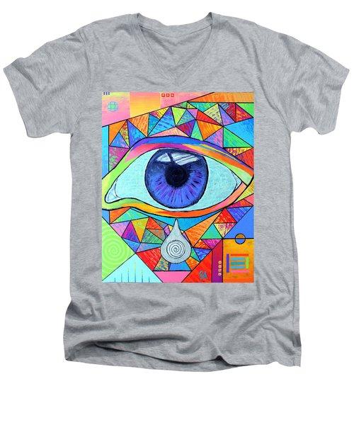Eye With Silver Tear Men's V-Neck T-Shirt