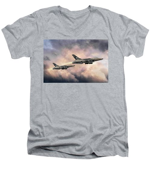 Men's V-Neck T-Shirt featuring the digital art F-105 Thunderchief by Peter Chilelli