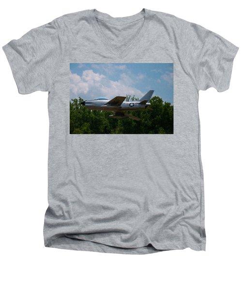 Men's V-Neck T-Shirt featuring the digital art F-86l Sabre by Chris Flees