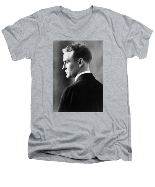 F. Scott Fitzgerald Circa 1925 Men's V-Neck T-Shirt by David Lee Guss