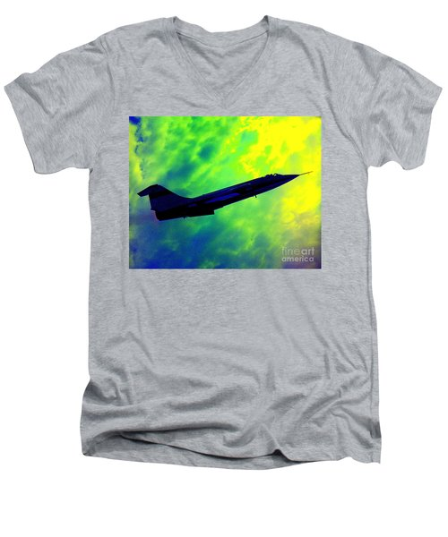 F104 In Clouds - 2 Men's V-Neck T-Shirt by Greg Moores