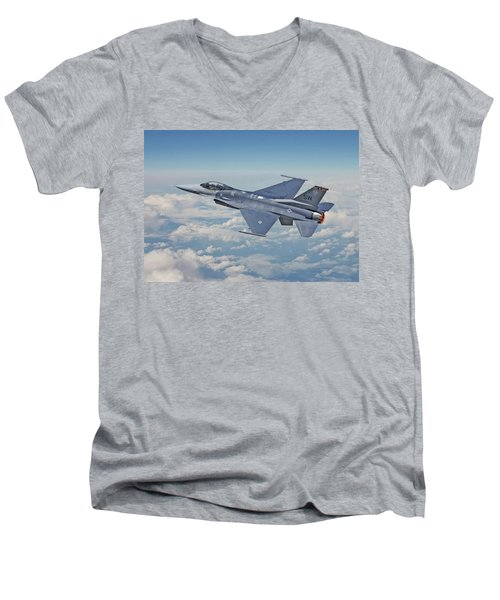 Men's V-Neck T-Shirt featuring the digital art F16 - Fighting Falcon by Pat Speirs