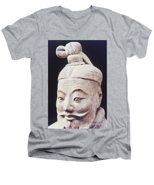 Men's V-Neck T-Shirt featuring the photograph Face Of A Terracotta Warrior by Heiko Koehrer-Wagner