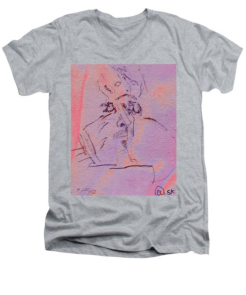 Men's V-Neck T-Shirt featuring the mixed media Faces Of Trivia by Steve Karol