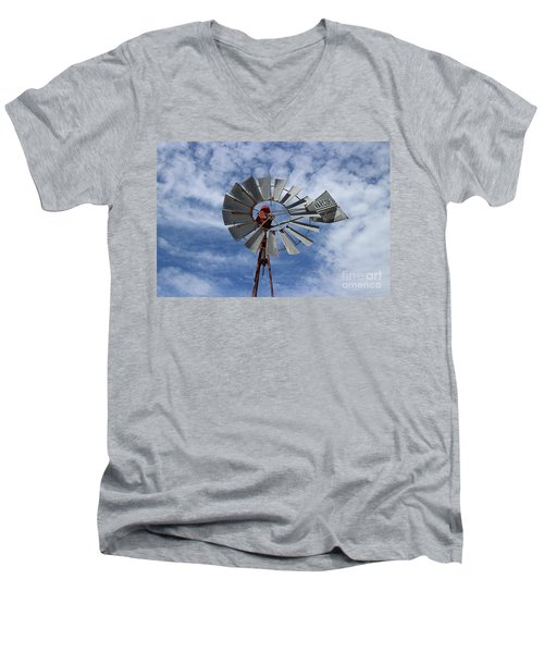 Men's V-Neck T-Shirt featuring the photograph Facing Into The Breeze by Stephen Mitchell