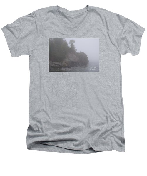 Men's V-Neck T-Shirt featuring the photograph Facing The Fog by Sandra Updyke