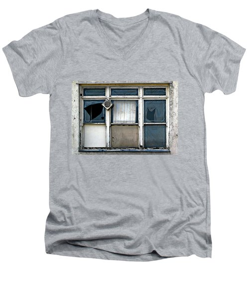Men's V-Neck T-Shirt featuring the photograph Factory Windows by Ethna Gillespie