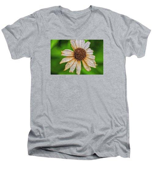 Faded Cone Flower Men's V-Neck T-Shirt by Tom Singleton