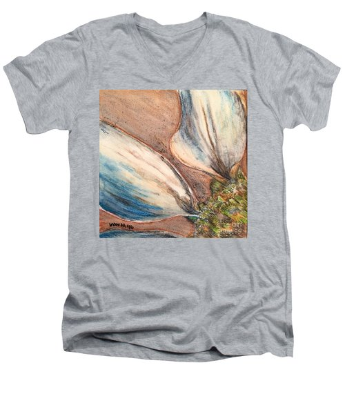 Men's V-Neck T-Shirt featuring the drawing Faded Glory  by Vonda Lawson-Rosa