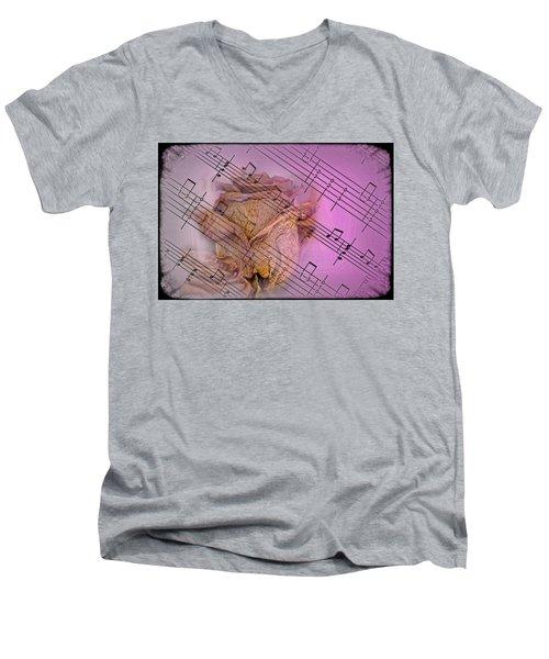 Faded Music Men's V-Neck T-Shirt
