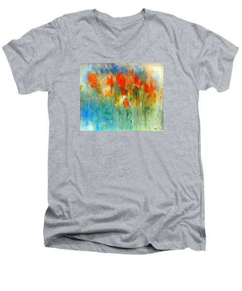 Faded Warm Autumn Wind Men's V-Neck T-Shirt by Lisa Kaiser