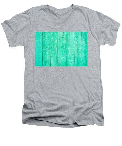 Men's V-Neck T-Shirt featuring the photograph Fading Aqua Paint On Wood by John Williams