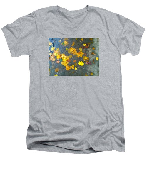 Fading Leaves Men's V-Neck T-Shirt by Suzanne Lorenz