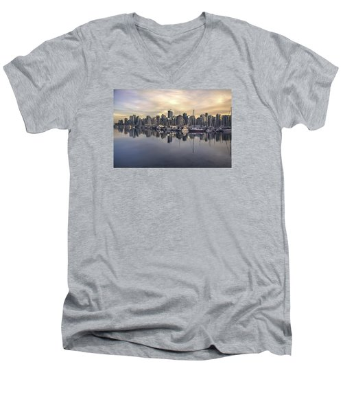 Fading Sun Over Downtown Vancouver Men's V-Neck T-Shirt by Sabine Edrissi