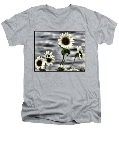 Men's V-Neck T-Shirt featuring the photograph Fading Sunflowers by Susan Kinney