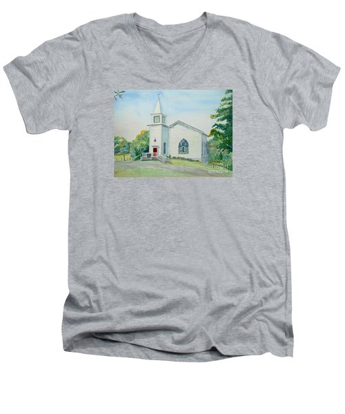 Fairdale Um Church Men's V-Neck T-Shirt by Christine Lathrop