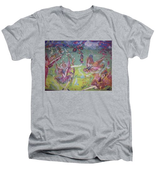 Fairy Ballet Men's V-Neck T-Shirt by Judith Desrosiers
