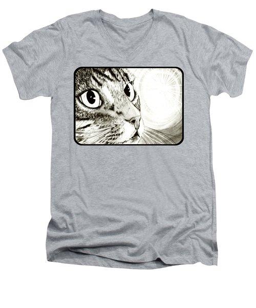 Fairy Light Tabby Cat Drawing Men's V-Neck T-Shirt