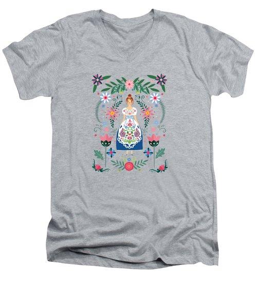 Fairy Tale Folk Art Garden Men's V-Neck T-Shirt