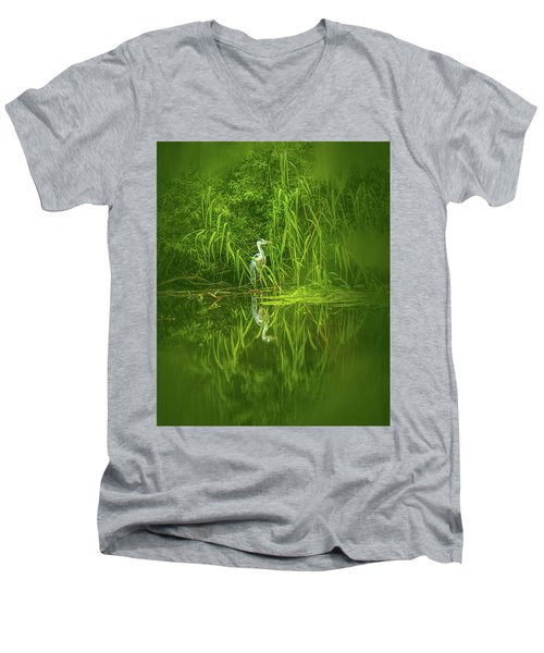 Fairy Tale Heron #g5 Men's V-Neck T-Shirt