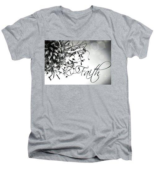 Faith Men's V-Neck T-Shirt by Bobby Villapando