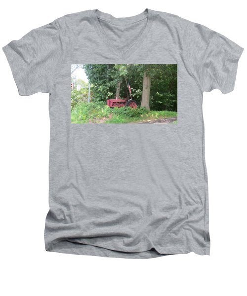 Faithful American Tractor Men's V-Neck T-Shirt by Jeanette Oberholtzer