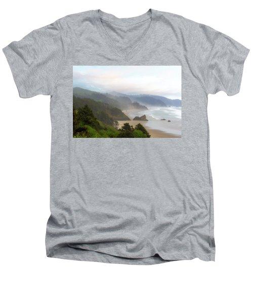 Falcon And Silver Point At Oregon Coast Men's V-Neck T-Shirt