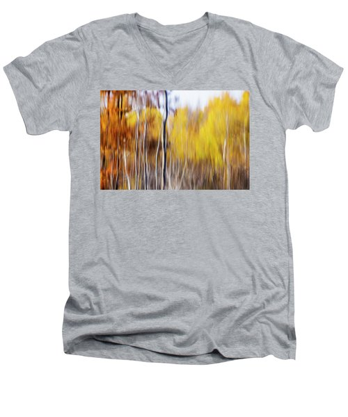 Men's V-Neck T-Shirt featuring the photograph Fall Abstract by Mircea Costina Photography