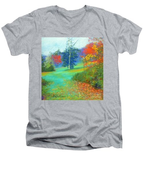 Fall Across The Field  Men's V-Neck T-Shirt by Rae  Smith PAC