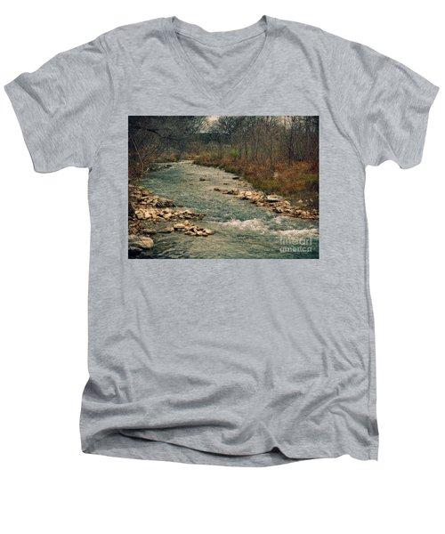 Fall Along The River Men's V-Neck T-Shirt