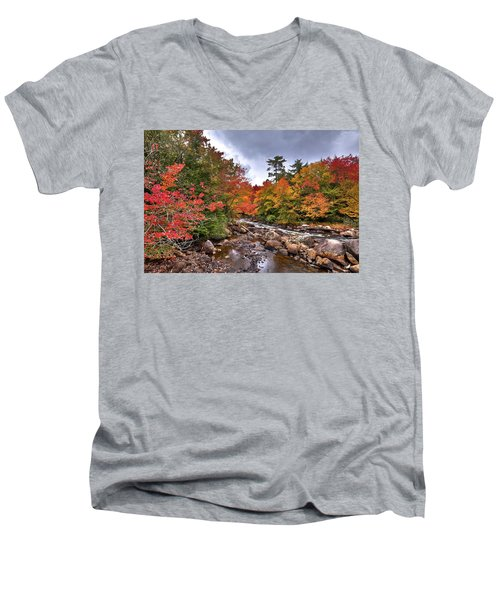 Men's V-Neck T-Shirt featuring the photograph Fall At Indian Rapids by David Patterson
