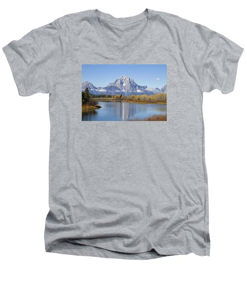Men's V-Neck T-Shirt featuring the photograph Fall At Teton -1 by Shirley Mitchell