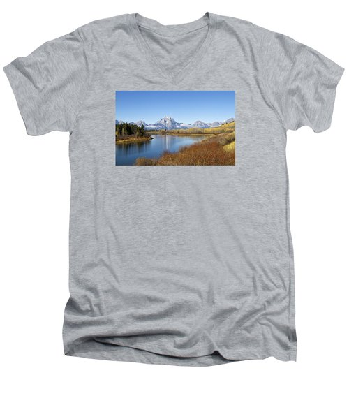 Men's V-Neck T-Shirt featuring the photograph Fall At Teton -2 by Shirley Mitchell