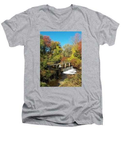 Fall At The Old Mill Stream Men's V-Neck T-Shirt