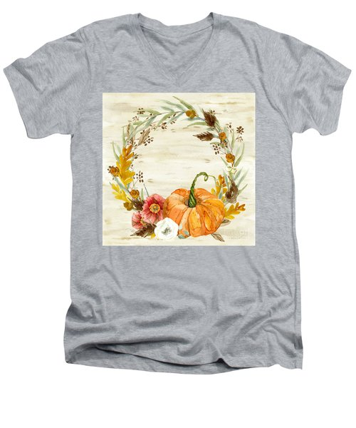 Men's V-Neck T-Shirt featuring the painting Fall Autumn Harvest Wreath On Birch Bark Watercolor by Audrey Jeanne Roberts