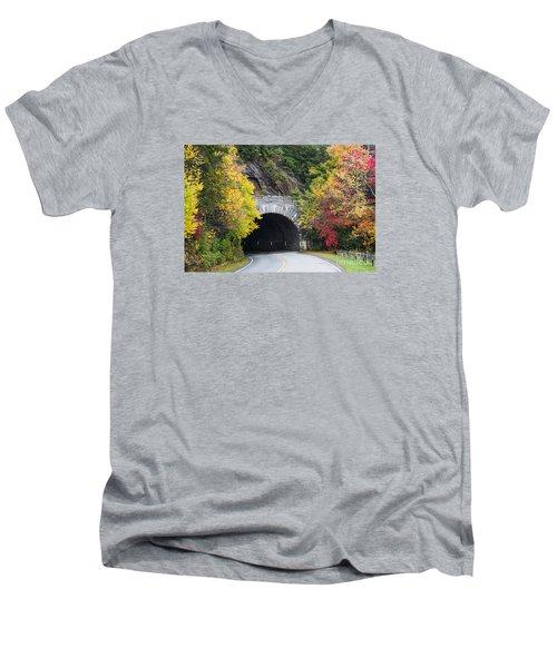 Fall Blue Ridge Parkway @ Rough Ridge Tunnel  Men's V-Neck T-Shirt by Nature Scapes Fine Art