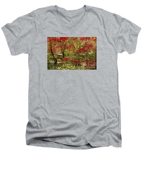 Fall Color In The Japanese Gardens Men's V-Neck T-Shirt by Barbara Bowen