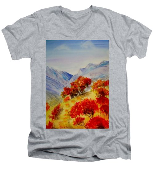 Men's V-Neck T-Shirt featuring the painting Fall Color by Jamie Frier