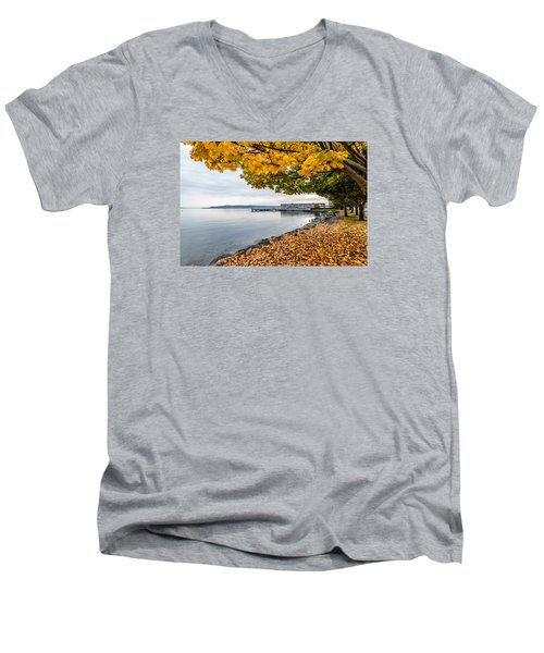 Fall Colors Framing Commencement Bay Men's V-Neck T-Shirt by Rob Green