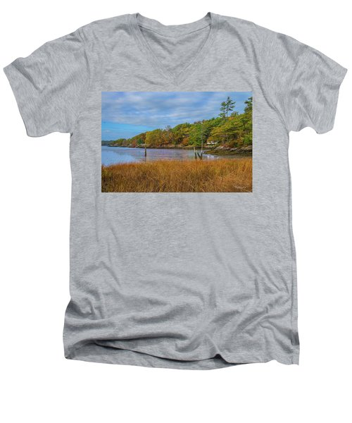 Men's V-Neck T-Shirt featuring the photograph Fall Colors In Edgecomb Too by Tim Kathka