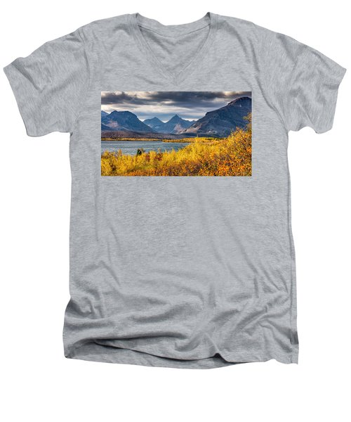 Fall Colors In Glacier National Park Men's V-Neck T-Shirt by Pierre Leclerc Photography
