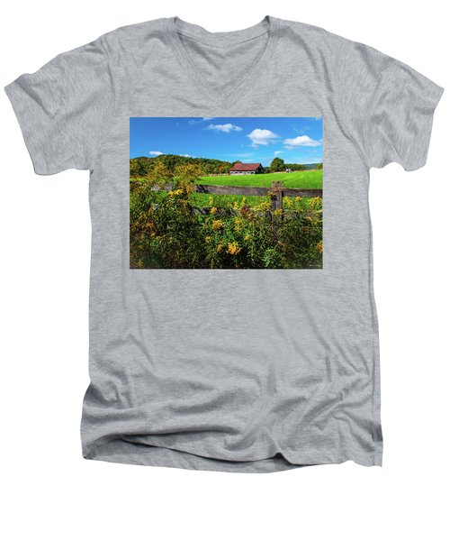 Fall Farm Men's V-Neck T-Shirt by Rebecca Hiatt