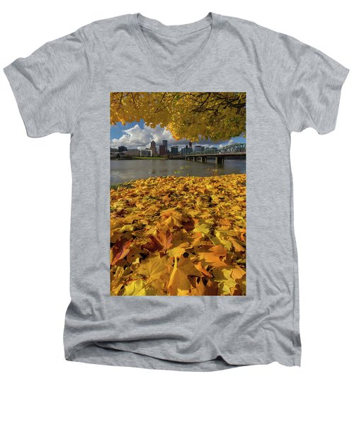 Fall Foliage In Portland Oregon City Men's V-Neck T-Shirt