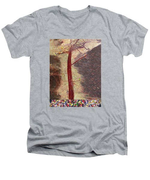 Men's V-Neck T-Shirt featuring the painting Fall by Haleh Mahbod
